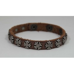 UNISEX LEATHER BRACELET WITH THE CROSS OF MALTA