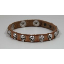 BRACELET WITH LEATHER UNISEX SKULLS
