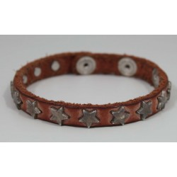 LEATHER UNISEX BRACELET WITH STARS