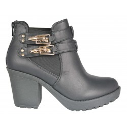 ANKLE BOOTS I. FASHION WOMAN LEATHER COD. 6408-20A WITH BUCKLE